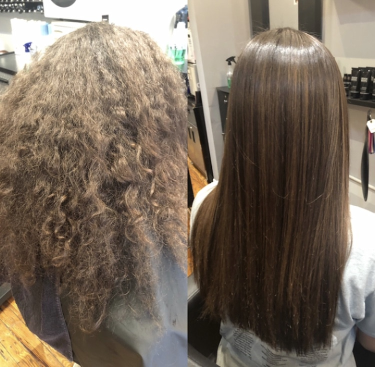 Before and After Brazilian Blowout created by Cara at Sulimay's Manayunk Location.